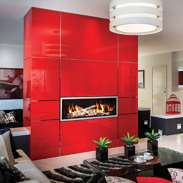 fireplace in a modern red wall